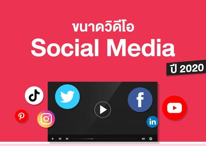 ขนาดวีดีโอของ Social Media ปี 2020